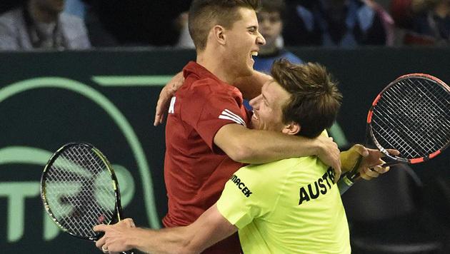 Thiem und Peya bringen Österreich 2:1 in Führung! (Bild: APA/HELMUT FOHRINGER)