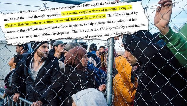 EU legt sich fest: Die Balkanroute bleibt zu! (Bild: AFP, Krone-Grafik)