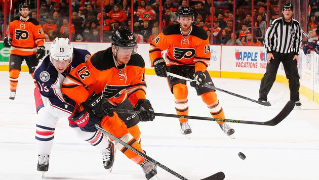 Michael Raffl trifft bei Philadelphias Kantersieg (Bild: APA/AFP/GETTY IMAGES/AL BELLO)