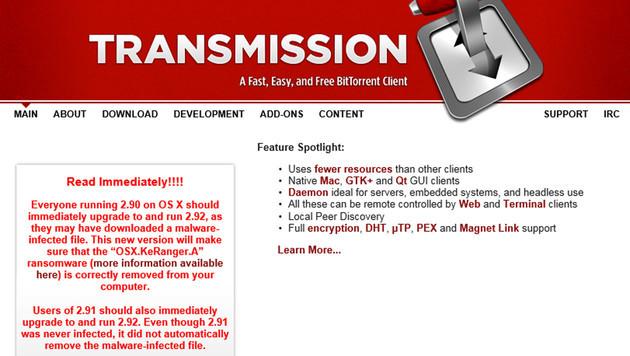 Ransomware KeRanger attackiert Mac-Computer (Bild: transmissionbt.com)
