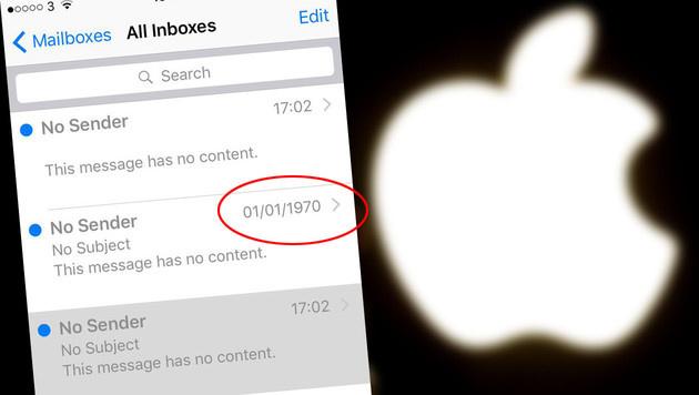 Apple-Bug: Geister-E-Mails aus der Vergangenheit (Bild: APA/AFP/PHILIPPE HUGUEN, Twitter/Flo_Cox, krone.at-Grafik)