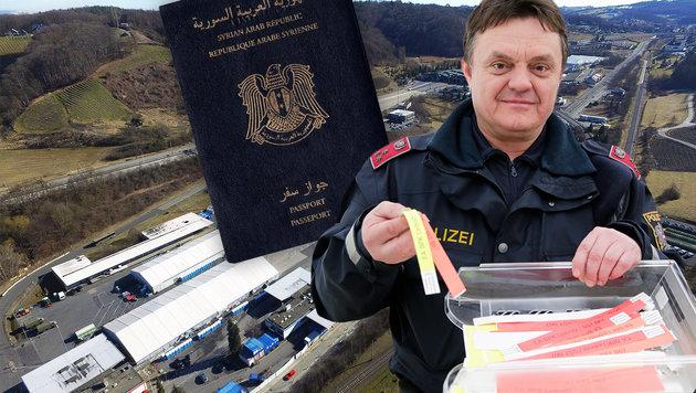 """Die Flüchtlinge bekamen in Spielfeld rote Armbänder: Rot bedeutet Zurückweisung nach Slowenien. (Bild: APA/HELMUT FOHRINGER, """"Krone"""", Klemens Groh)"""