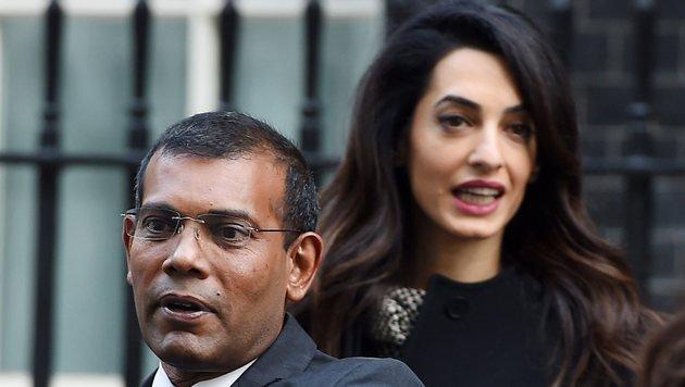 Amal Clooney vertritt den Ex-Präsidenten der Malediven, Mohamed Nasheed (Bild: EPA)