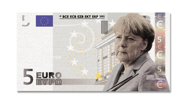 Angela Merkel schaffte es bei der Umfrage immerhin auf den 5-Euro-Schein. (Bild: Krone-Grafik)