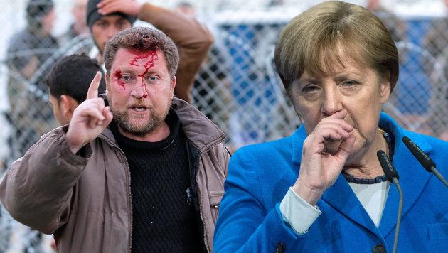 Während an der mazedonischen Grenze die Gewalt eskaliert, gerät Merkel zunehmend unter Druck. (Bild: EPA/VALDRIN XHEMAJ, EPA/MARIJANMURAT)