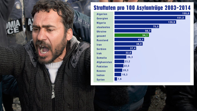 Jeder zweite Asylwerber wegen Straftaten angezeigt (Bild: AP, Krone-Grafik)