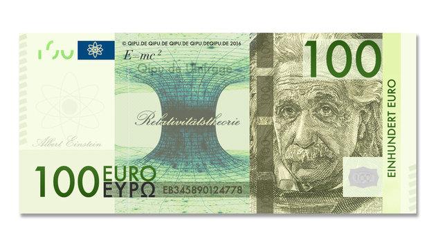Auf der 100-Euro-Banknote wünschen sich die Deutschen Albert Einstein. (Bild: Krone-Grafik)