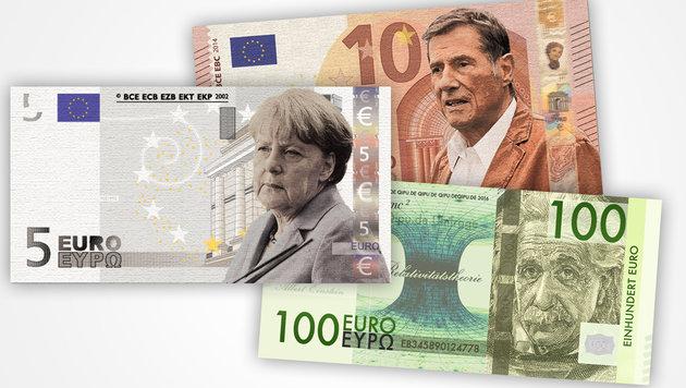 Euro-Banknoten mit Einstein, Jürgens und Merkel (Bild: Krone-Grafik)