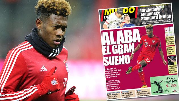 """Alaba """"der große Traum des FC Barcelona"""" (Bild: GEPA, Mundo Deportivo)"""