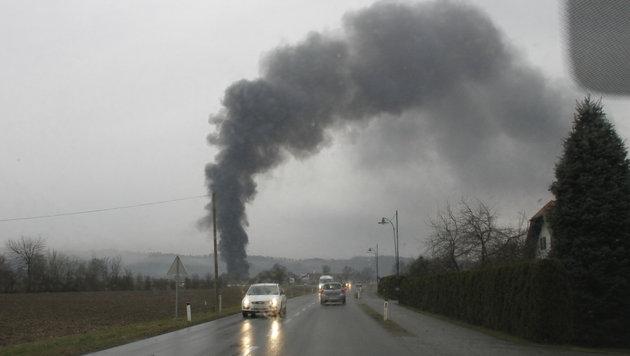 Lagerhallenbrand bei steirischem Biogaswerk (Bild: Sepp Pail)