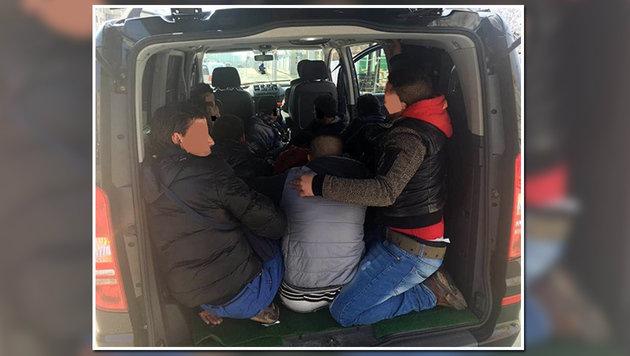 Auf engstem Raum drängten sich insgesamt 15 junge Männer. (Bild: LPD WIEN)