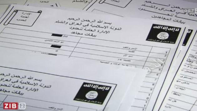Rekrutierungsbögen des IS (Bild: ORF)