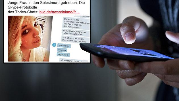 Chat-Partner trieb 23-j�hrige Deutsche in den Tod (Bild: twitter.com/BILD, thinkstockphotos.de)