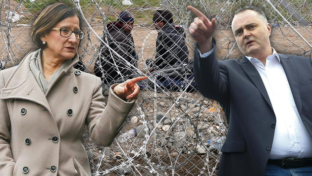 """""""Noch lange nicht das Ende des Flüchtlingsstroms"""" (Bild: APA/ERWIN SCHERIAU, APA/AFP/LOUISA GOULIAMAKI)"""