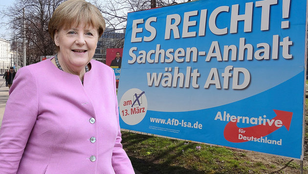 Protestwahl gegen Asylpolitik? Merkels CDU zittert (Bild: APA/AFP/STEPHANE DE SAKUTIN, AP)