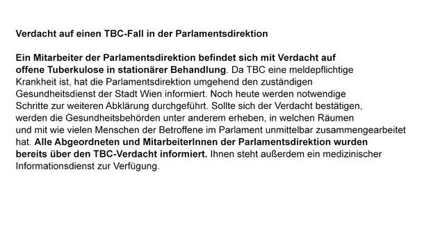 Tuberkulose-Alarm im Parlament (Bild: Parlament)