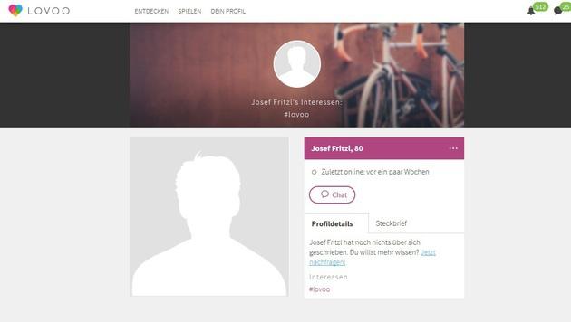 """Das Profil von """"Josef Fritzl"""" (Bild: Lovoo)"""