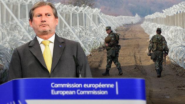 EU-Kommissar Hahn; Hintergrund: Mazedonische Grenzbefestigung zu Griechenland bei Gevgelija (Bild: APA/AFP/EMMANUEL DUNAND, AP)