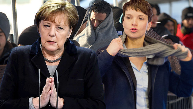 """Kanzlerin Angela Merkel hatte einen schweren, AfD-Chefin Frauke Petry einen schönen """"Super Sunday"""". (Bild: APA, dpa, AFP)"""