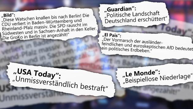"""""""Diese Watschen für Merkel knallen bis Berlin"""" (Bild: APA/AFP/dpa/FELIX KASTLE, thinkstockphotos.de, Krone.at-Grafik)"""