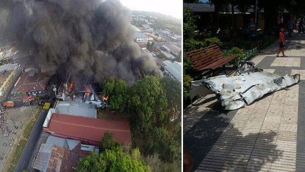 Kleinflugzeug in Bolivien auf Markt gestürzt (Bild: twitter.com)