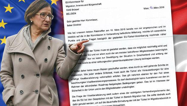 Innenministerin schickt Protest-Brief nach Brüssel (Bild: APA/ERWIN SCHERIAU, BMI, thinkstockphotos.de)