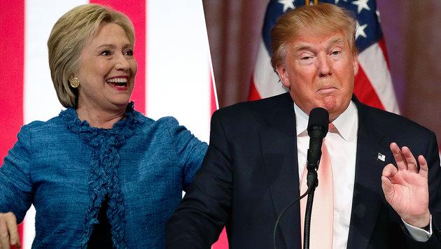 US-Vorwahlen: Clinton und Trump r�umen weiter ab (Bild: AP, AFP PHOTO / RHONA WISE)