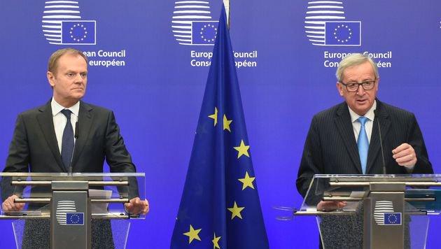 Ratspräsident Tusk (links) und Kommissionspräsident Juncker (Bild: AFP)