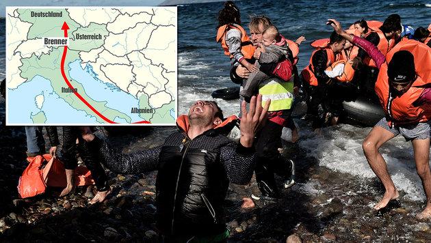 Albaniens Mafia lotst Fl�chtlinge nun �ber Adria (Bild: AFP/ARIS MESSINIS, Krone-Grafik)