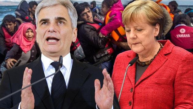 """""""Berlin muss Kurs in Flüchtlingspolitik ändern"""" (Bild: APA/GEORG HOCHMUTH, APA/AFP/ODD ANDERSEN, AP)"""