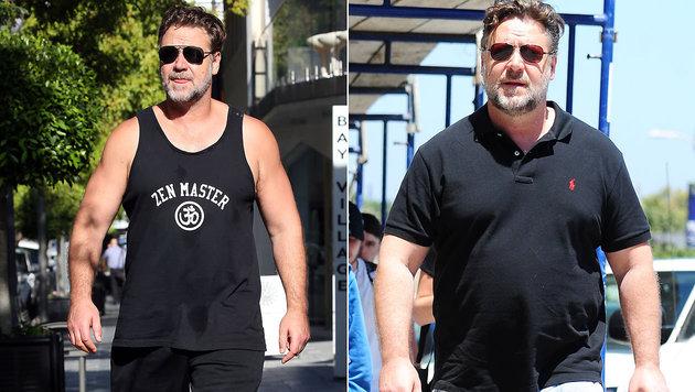 Russell Crowe hat 24 Kilo abgespeckt, im Vorjahr (r.) wog er noch 120 Kilo. (Bild: Viennareport)