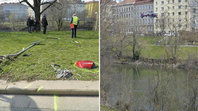 Auto in Wiener Donaukanal gestürzt: Toter geborgen (Bild: APA/HERBERT NEUBAUER)