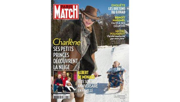 Charlene macht mit ihren Kindern Urlaub im Schnee. (Bild: Paris Match)