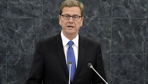 Guido Westerwelle während einer Rede vor der UNO-Vollversammlung im Jahr 2013 (Bild: APA/AFP/TIMOTHY CLARY)