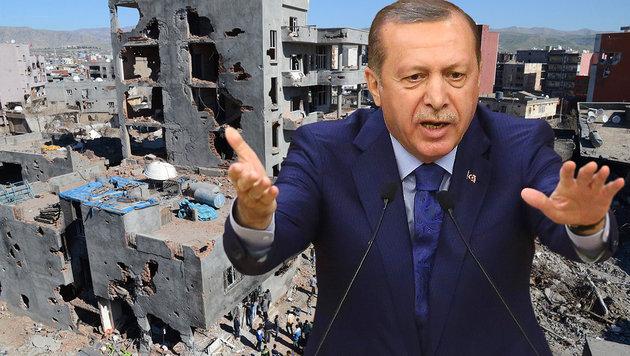 """Der große Scherbenhaufen von """"Sultan"""" Erdogan (Bild: APA/AFP/ILYAS AKENGIN, APA/AFP/ADEM ALTAN)"""