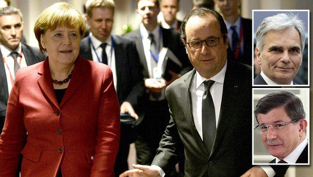 Merkel, Frankreichs Pr�sident Francois Hollande, Kanzler Faymann und der t�rkische Premier Davutoglu (Bild: APA/AFP)