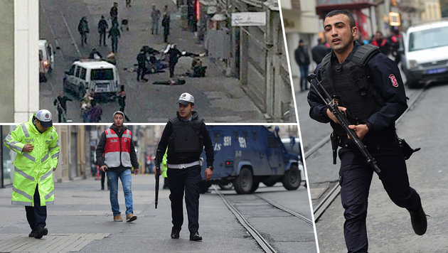 Istanbul: Blutiger Anschlag auf Einkaufsstraße (Bild: CNN Kurd, APA/AFP/BULENT KILIC)