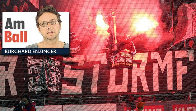 """An meine feigen """"Verehrer"""" unter den Sturm-Fans (Bild: Kronen Zeitung, GEPA)"""