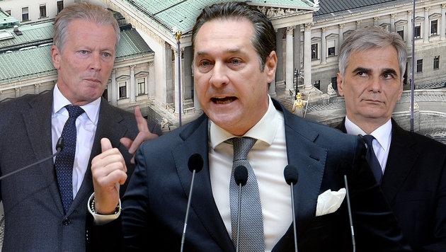 Hammerumfrage: FPÖ mit 32% klar vor ÖVP und SPÖ (Bild: APA/HERBERT NEUBAUER, APA/ROLAND SCHLAGER)