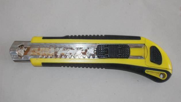 Die Tatwaffe, ein Stanleymesser, wurde beim Beschuldigten sichergestellt. (Bild: LPD WIEN)