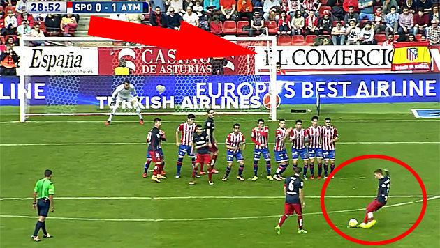 Zauber-Freistoß von Griezmann bei Atletico-Pleite! (Bild: LAOLA)