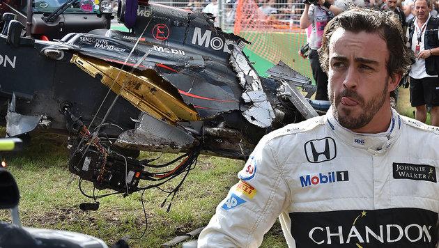 Alonso nach Horrorcrash: Dankbar, am Leben zu sein (Bild: APA/AFP/Paul Crock)