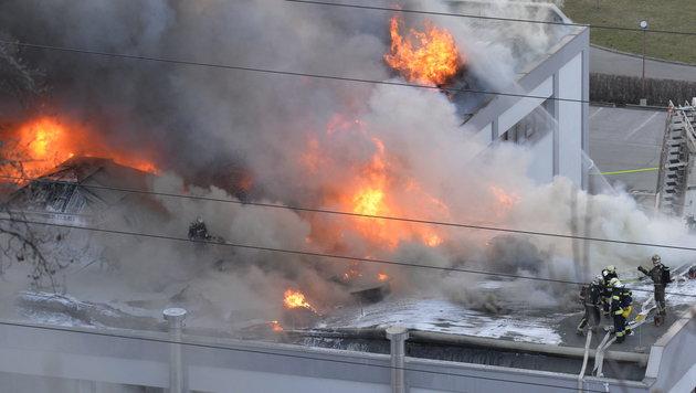 Feuerwehrleute bei der Brandbekämpfung (Bild: APA/ZEITUNGSFOTO.AT)