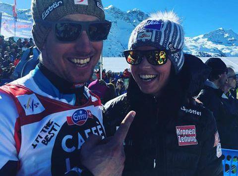 Prominente Gratulantin: Anna Fenninger feiert mit Marcel Hirscher in St. Moritz seine Super-Saison. (Bild: Facebook.com)