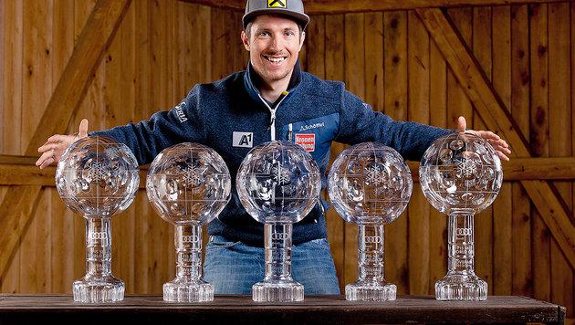 Marcel Hirschers stolze Kristall-Sammlung (Bild: Andreas Tröster)