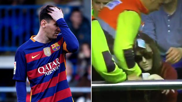 Messi brach Zuschauerin mit Fehlschuss Handgelenk (Bild: APA/AFP/JOSE JORDAN, twitter.com)