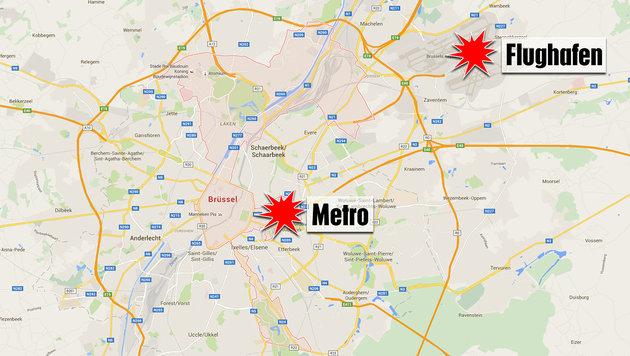 Brüssel: Dritter Flughafen-Attentäter festgenommen (Bild: maps.google.at)