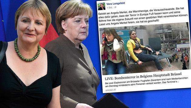 Vera Lengsfeld (li.) macht Merkel indirekt f�r die Terroranschl�ge in Br�ssel verantwortlich. (Bild: AP, AFP, facebook.com)