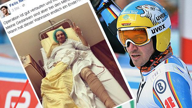 Neureuther grüßt nach Knie-OP aus dem Krankenbett (Bild: APA/BARBARA GINDL, Facebook.com/Felix Neureuther)