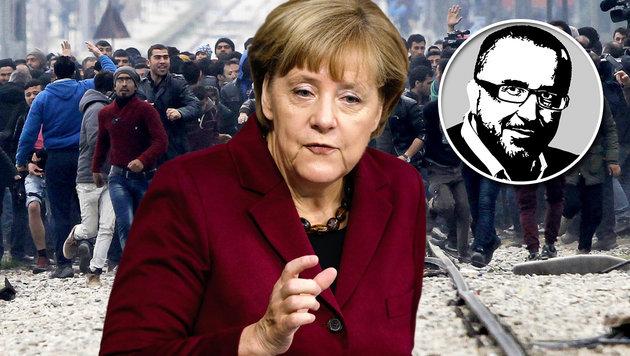 Feuer am Dach von Merkels Asyl-Ponyhof (Bild: AP, Krone-Grafik)